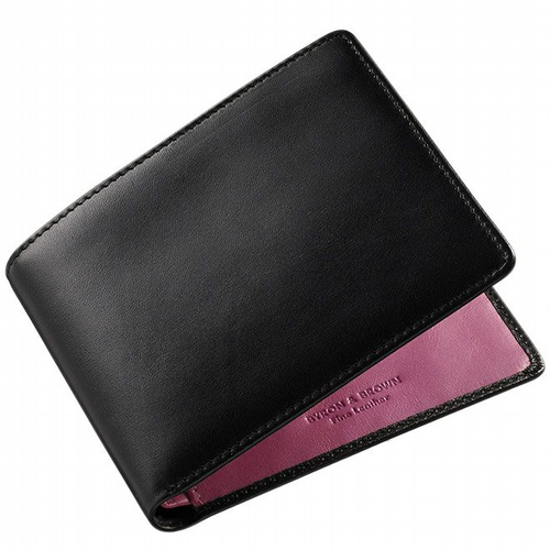 Two Colours Leather Wallet - Black & Mulberry